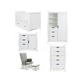 image-Obaby Stamford Sleigh Cot Bed 5 Piece Nursery Furniture Set - White