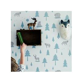 image-Kids Wallpaper Into the Wild Design in Grey & Storm Green