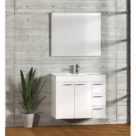 image-Bathroom 900mm Wall Hung Single Vanity Unit Symple Stuff Vanity Base Colour: Matt White