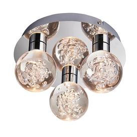 image-Endon 76364 Versa 3 Light Bathroom Flush Ceiling Light In Chrome Plate