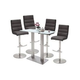 image-Soho Glass Bar Table With 4 Hiulia Anthracite Leather Stools