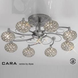 image-IL30938 Cara Satin Nickel 8 Light Flush Ceiling Light