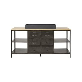 image-Solid Mango Wood and Grey Metal Industrial Double Vanity Unit Alister