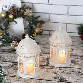 image-Fleur De Lis Living Set Of 2 Vintage Candle Lanterns 21Cm High Decorative Hanging Lantern Metal Candle Holder Round Balcony Accessory For Table Tree P