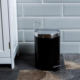 image-Stainless Steel 3 Litre Step On Bathroom Bin Wayfair Basics Colour: Black