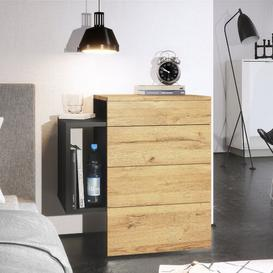image-Queens 2 Drawer Bedside Table Vladon Colour (frame / table top): Oak Nature, Features: With LED spotlight