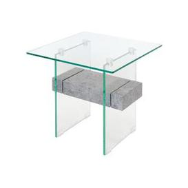 image-Jessie Glass End Table In Clear With Concrete Style Shelf
