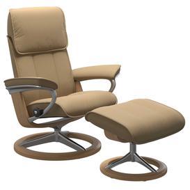 image-Stressless Admiral Medium Signature Chair  Stool, Paloma Sand  Oak