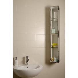 image-Ottawa 18 x 124.6cm Mirrored Wall Mounted Tall Bathroom Cabinet Croydex