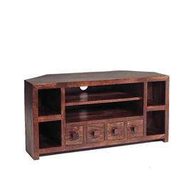 image-Toko Dark Mango Furniture Corner TV Unit