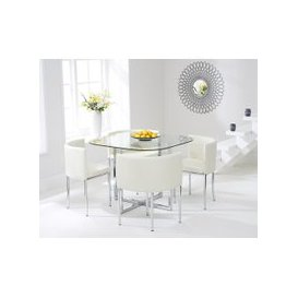 image-Algarve Glass Stowaway Dining Table with Cream High Back Stools