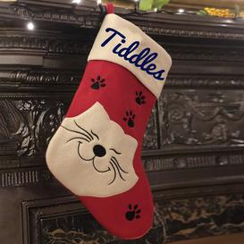 image-Cat Personalised Christmas Stocking East Urban Home Colour: Navy Blue