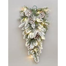 image-Flocked Teardrop Shaped Lit Christmas Wreath/Hanger
