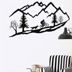 image-Metal Mountain Bike Trees and Dog Wall Décor