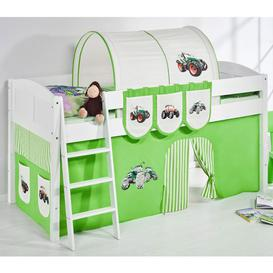 image-Hilla Children Bed In White With Tractor Green Curtains