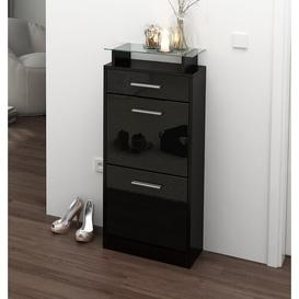 image-Loret V2 8 Pair Shoe Storage Cabinet Vladon Finish: Black (glossy)/Black (matt), Lighting included: Yes