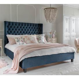 image-Pimlico Curved Teal Velvet Bed (Super King Size)