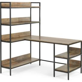 image-Lomond Adjustable Corner Desk with Shelves, Mango Wood and Black