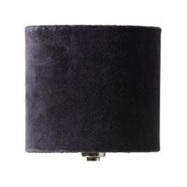 image-Papillon Pleated Silk and Velvet Lampshade - Dark Grey (size: Small)