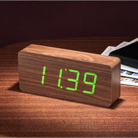 image-Modern Digital Wood Electric Alarm Tabletop Clock Symple Stuff Finish: Walnut/Green