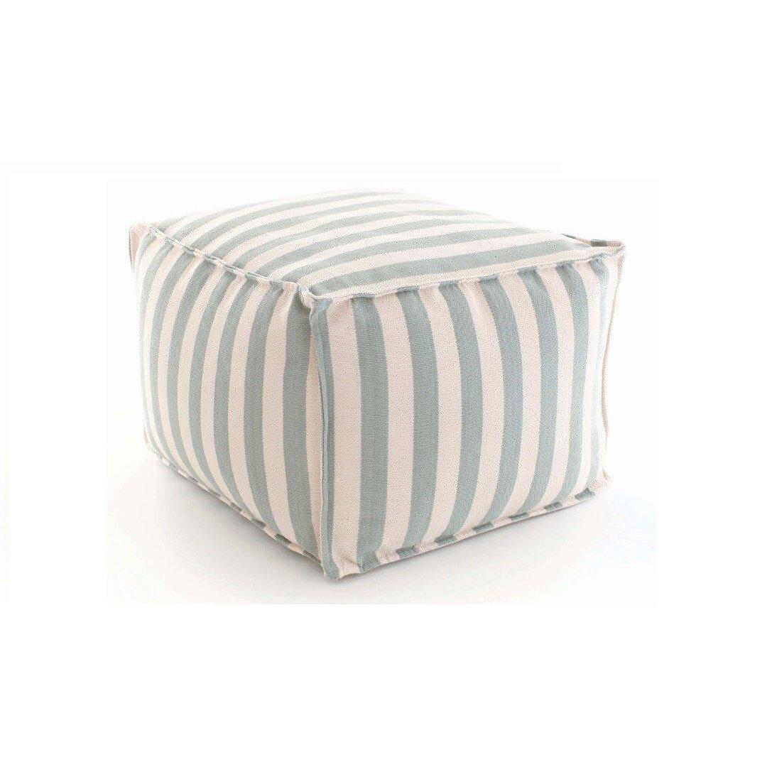 image-Trimaran Stripe Light Blue/Ivory Indoor/Outdoor Pouf