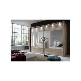 image-Wiemann Hollywood 4 Rustic Oak Sliding Wardrobe with Line 2-3 and 4 in Mirror - W 200cm-400cm