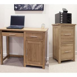 image-Opus Solid Oak Small Computer Desk & Filing Cabinet Set - PRE ORDER