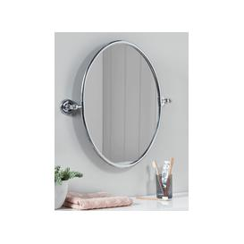 image-French Oval Mirror - Antique Silver