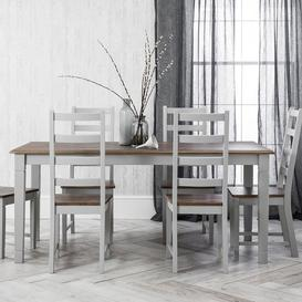 image-Canterbury Dining Table with 6 Chairs in Grey and Dark Pine