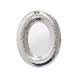 image-Libra Luna Hammered Silver Aluminium Oval Mini Mirror