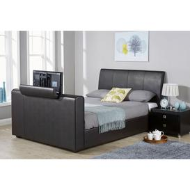 image-New York Double TV Bed Black Faux Leather