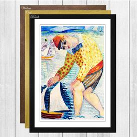 image-Boy with Toy Boat by Isaac Grunewald Framed Painting Print Big Box Art Frame Colour: Walnut