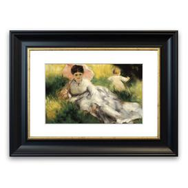 image-'Woman With Parasol By Renoir Cornwall' Framed Photographic Print East Urban Home Size: 93 cm H x 70 cm W, Frame Options: Black Matt