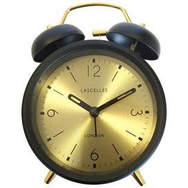 image-Analog Metal Quartz Alarm Tabletop Clock in Black Roger Lascelles Clocks Colour: Black/Gold