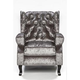 image-Classic Style Button Back Silver Crushed Velvet Recliner Chair