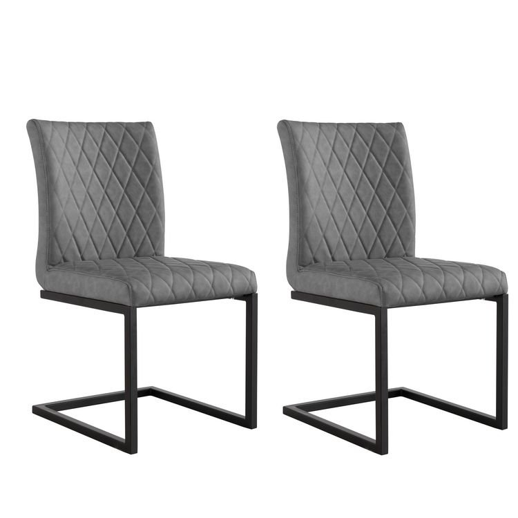 image-Metro Industrial Furniture Grey Diamond Quilted Dining Chair (Pair)