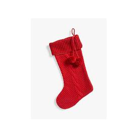 image-John Lewis & Partners Knitted Christmas Stocking, Red