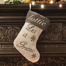 image-Let It Snow Personalised Christmas Stocking East Urban Home Colour: Silver