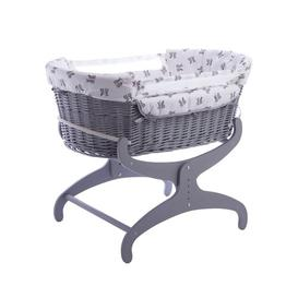 image-Rachel Riley Bunny Moses Basket with Bedding and Stand Clair De Lune