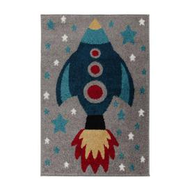 image-Space Rocket Rug Grey, Blue and Red