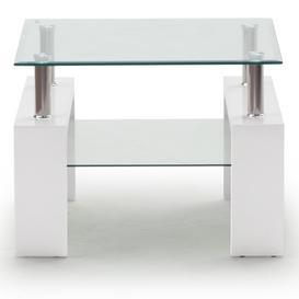 image-Vida Living Calico High Gloss & Glass White Lamp Table