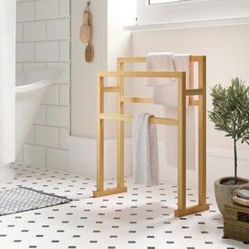 image-Belinda Free Standing Towel Rack Belfry Bathroom Finish: White Oak