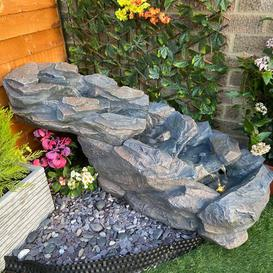 image-Compact Slate Cascade Resin Water Feature with Light Sol 72 Outdoor Power Source: Solar