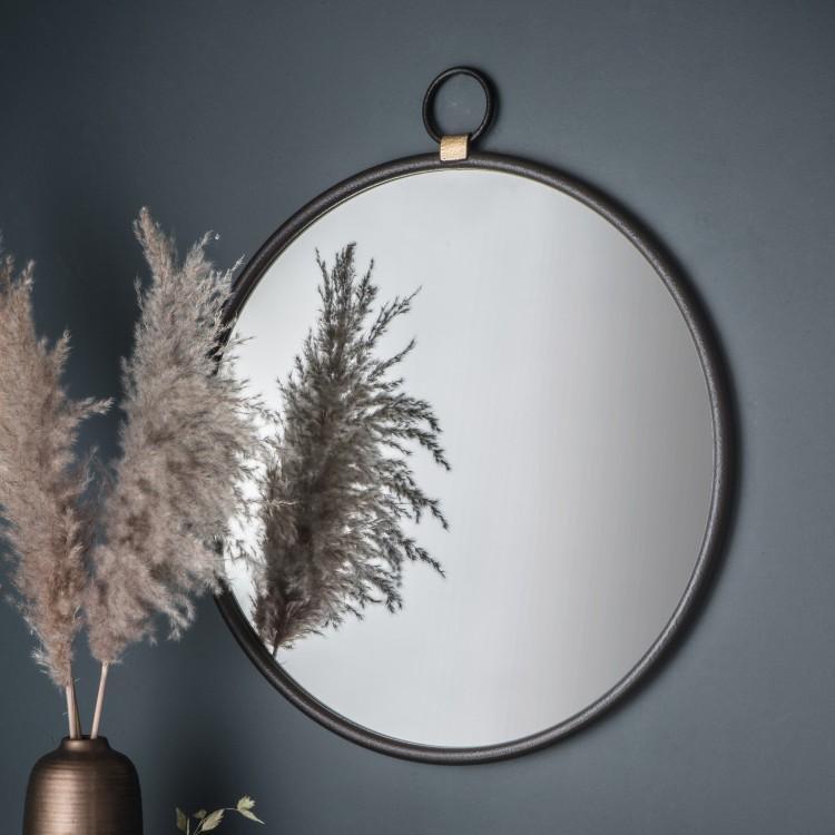 image-Bayswater Black Round Mirror