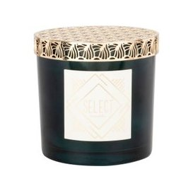 image-Green Scented Candle in Golden Metal Holder