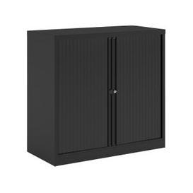 image-Bisley Economy Tambour Cupboard, 100wx47dx102h (cm), Black