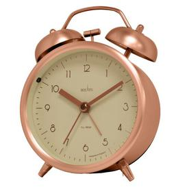 image-Analog Metal Quartz Alarm Tabletop Clock Acctim