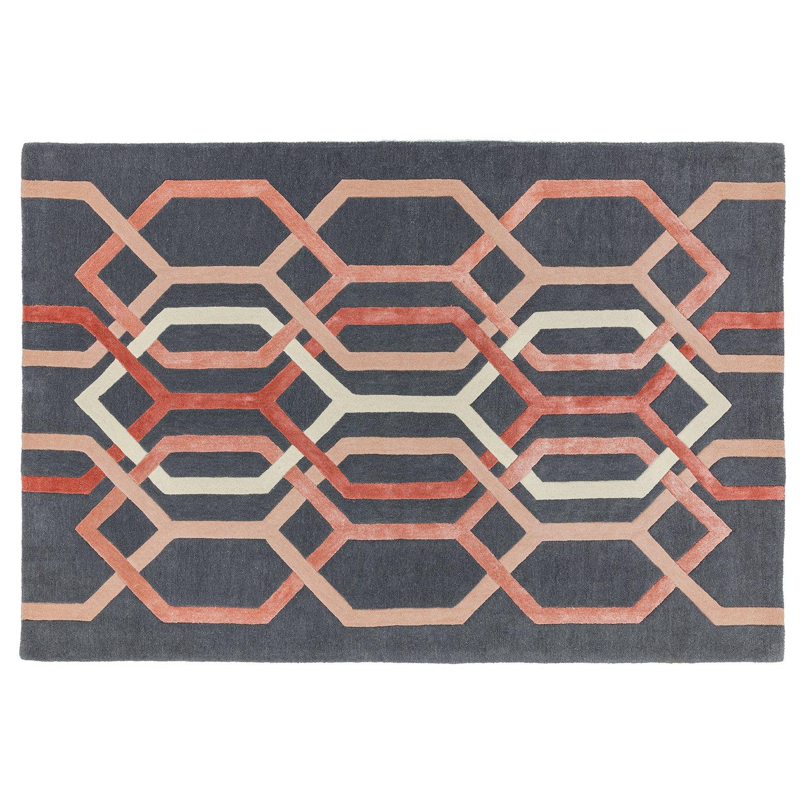 image-Geom Wool Rug, 120X170 cm, Charcoal