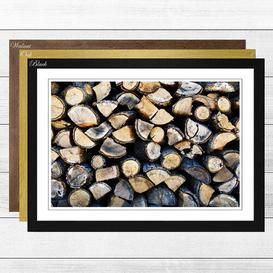 image-'Firewood Logs' Framed Photographic Print Big Box Art Frame Colour: Black