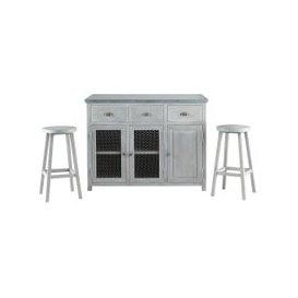 image-Grey Acacia Wood Kitchen Island + Two Stools W120 Zinc